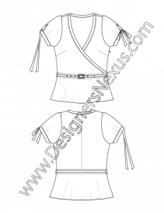 001 fashion flat sketch belted surplice top