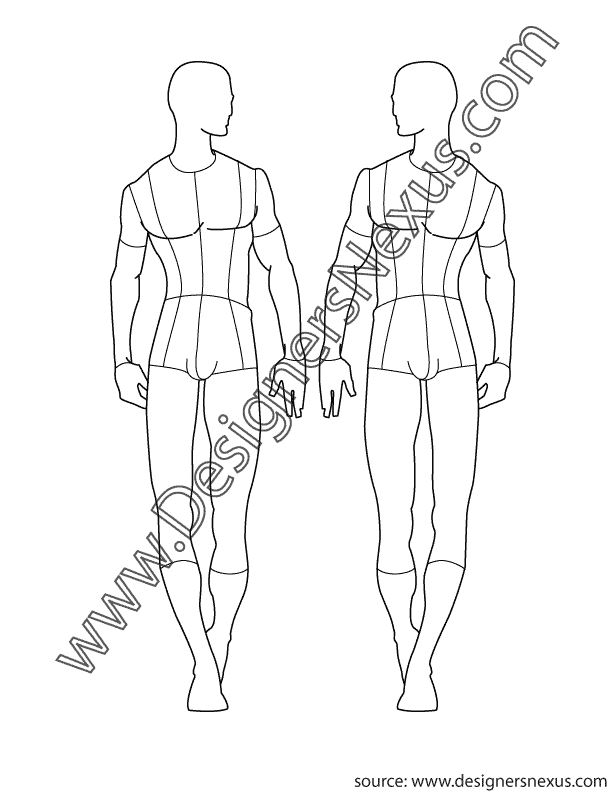 001- male fashion croquis template front view