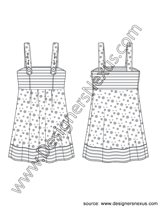 003- apparel flat sketch button strap apron dress jumper dress