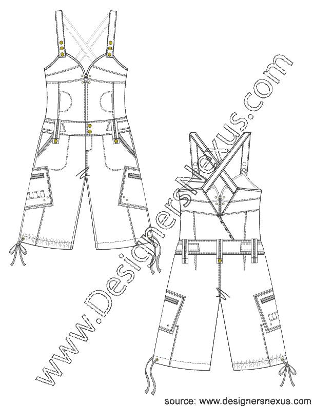 003- pants flat sketch overall shorts jumper