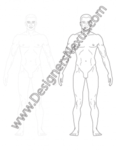 003- classic human proportion male fashion figure template front view