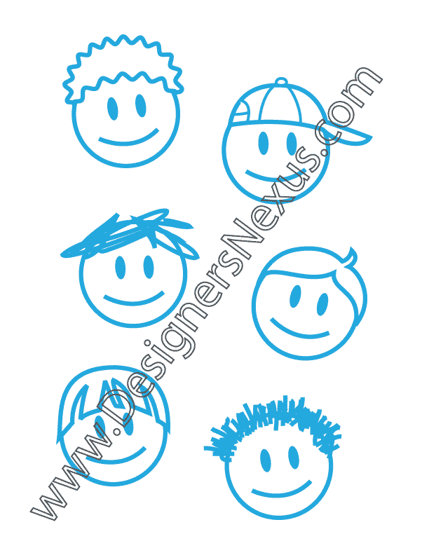 006- free vector graphic childrens boy faces doodle art