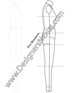 006- full body female dress form fashion template side view sketch