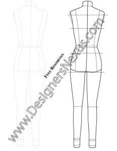 007- Full Body Female Dress Form Template Sketch Back View