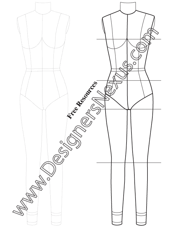 008- Full Body Female Dress Form Template for Fashion Sketching