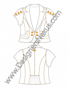 010- Apparel Flat Sketch Blazer with Tulip Sleeves