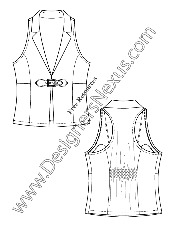 011- notched collar vest back smocking flat fashion sketch