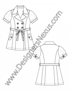 012- technical flat sketch banded puff sleeve trench-style coatdress