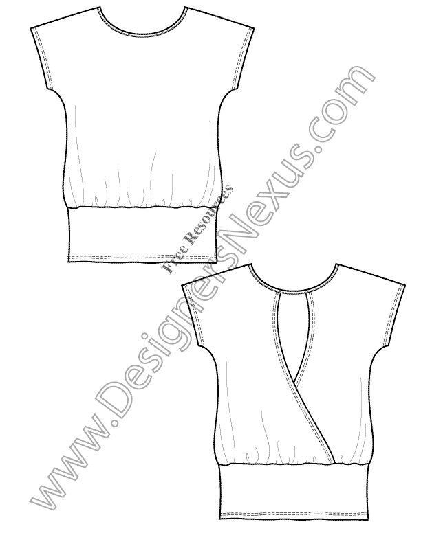 v14 knit tunic tshirt template free flat drawing