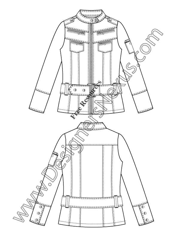 015- belted moto jacket flat fashion sketch template