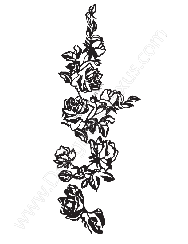 V15 Free Rose Vine Vector Graphic Rose Border Clip Art