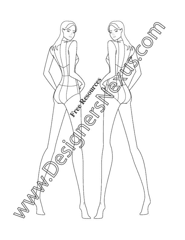 017- female fashion figure back view croqui template