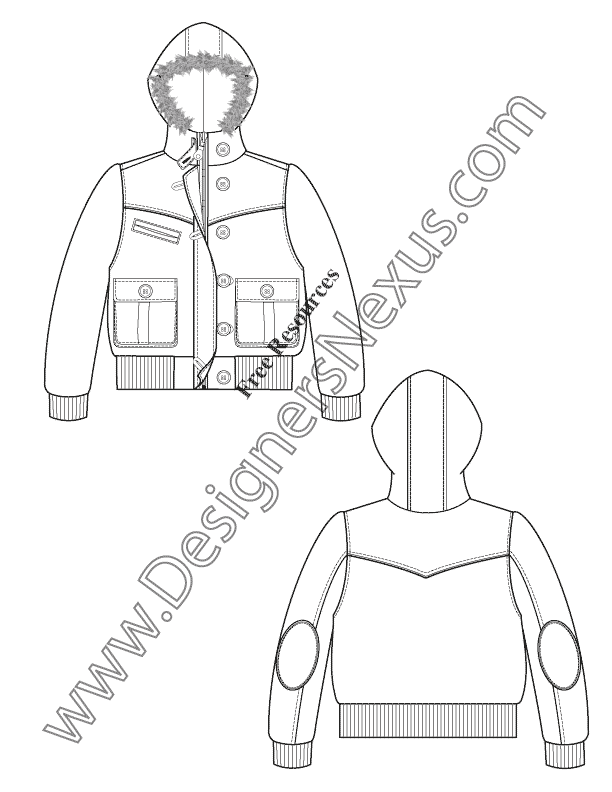 017- fur hooded bubble jacket free flat fashion sketch template