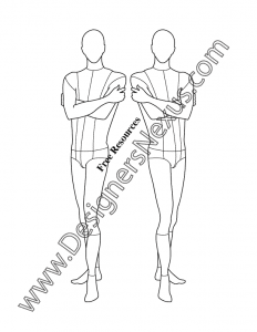 017- male fashion croqui template three-quarter pose