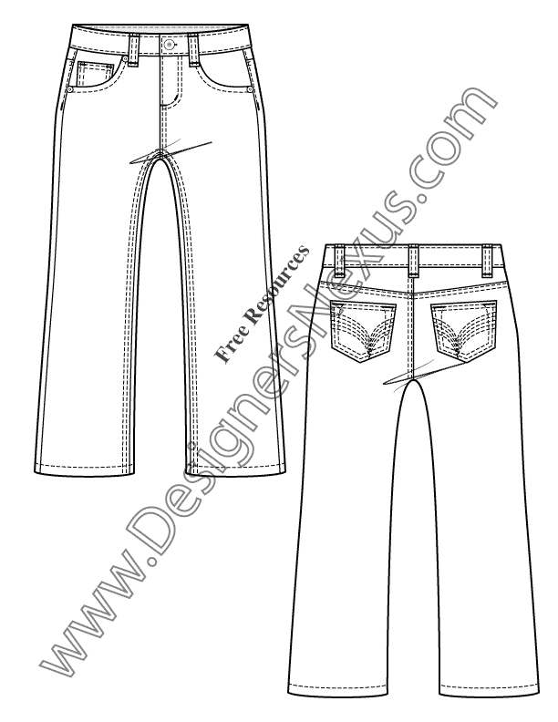 018- 5-pocket jeans kids toddler flat fashion sketch