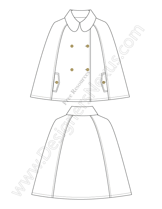 019-free-illustrator-cape-poncho-technical-flat-drawing-sketch