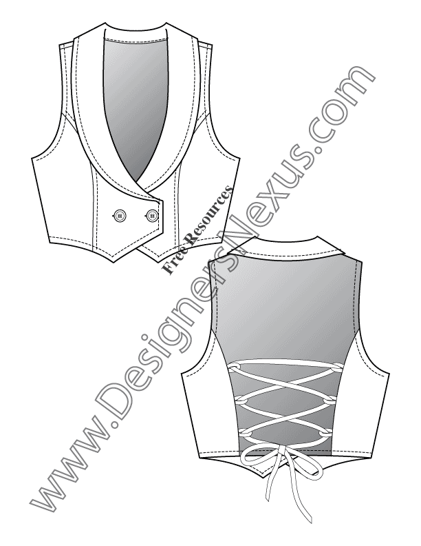 020- back lacing vest flat fashion sketch template