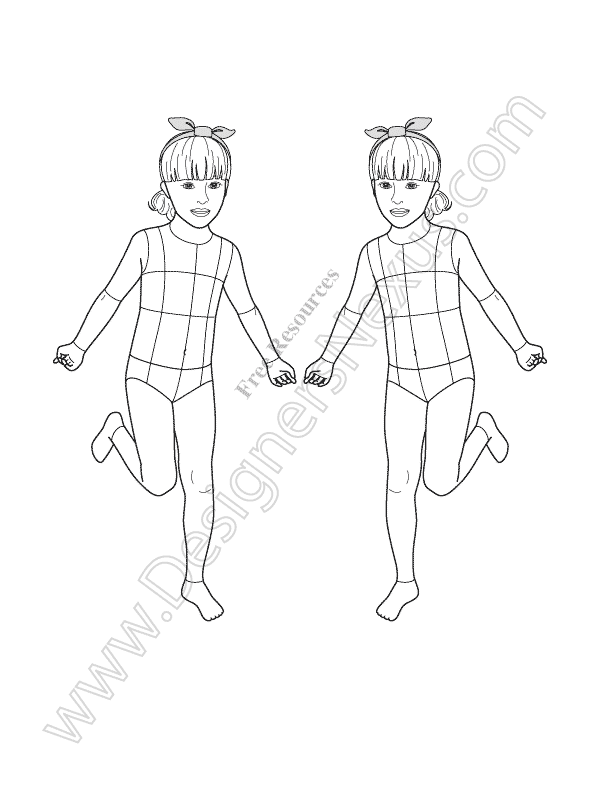 V20 Girls Kids Croquis Free Template - Designers Nexus