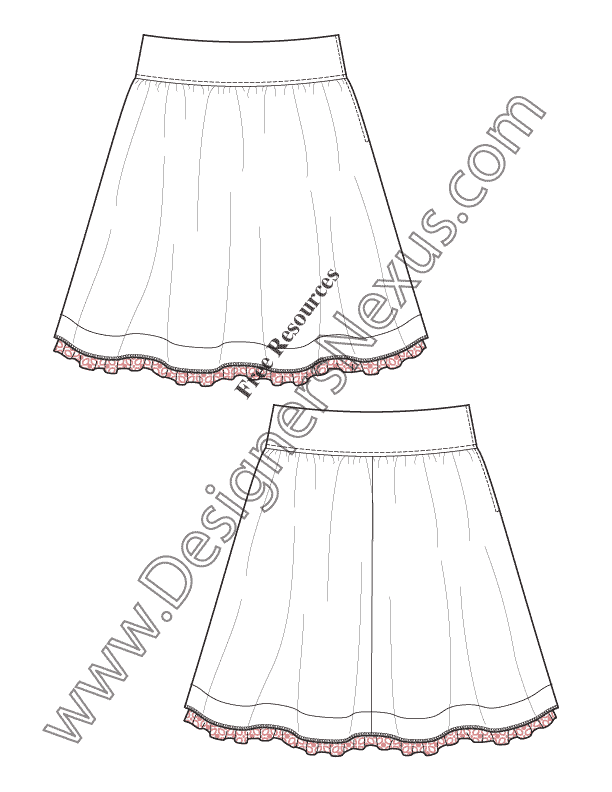 how to draw folds of a skirt