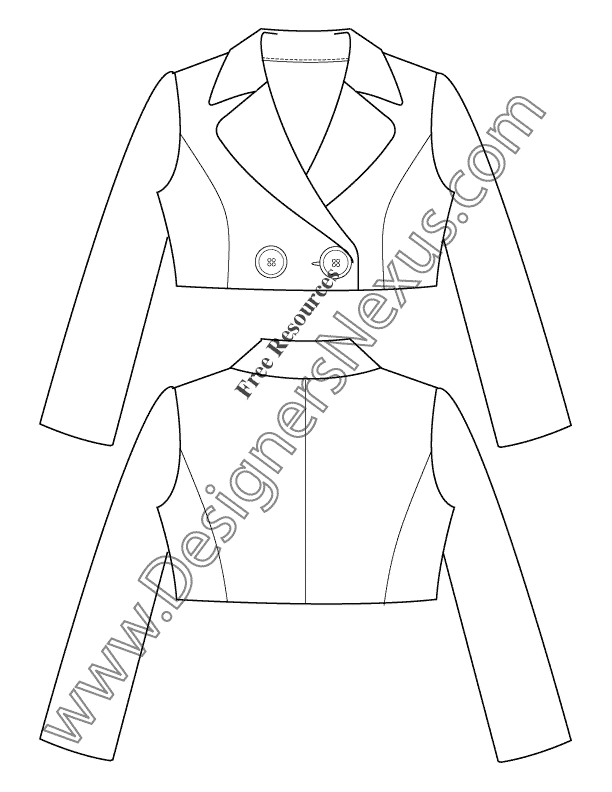 021- cropped jacket flat fashion sketch