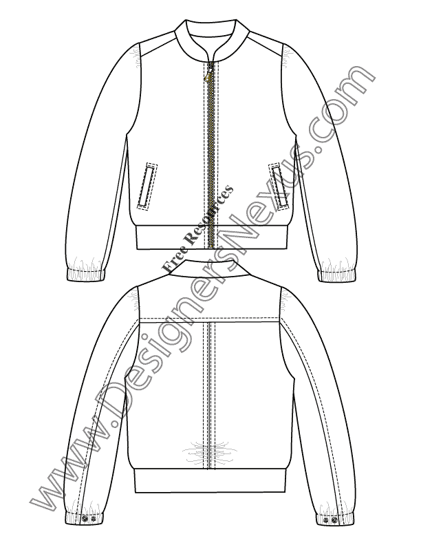 022- windbreaker jacket fashion flats sketch template