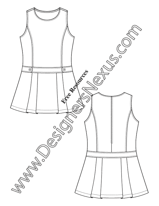 027- childrens flat fashion sketch girls dress