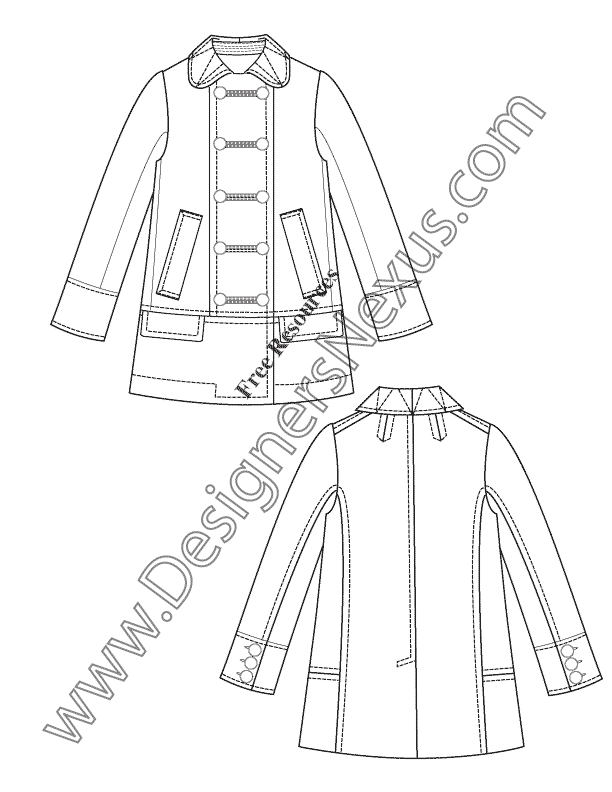 028- double-breasted military inspired coat flat fashion sketch