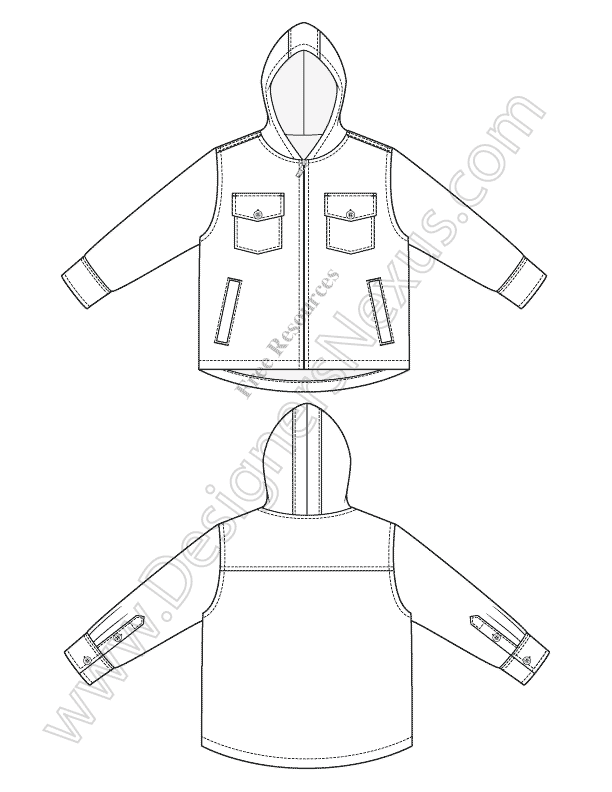 033-kids-hooded-jacket-Illustrator-flat-sketch