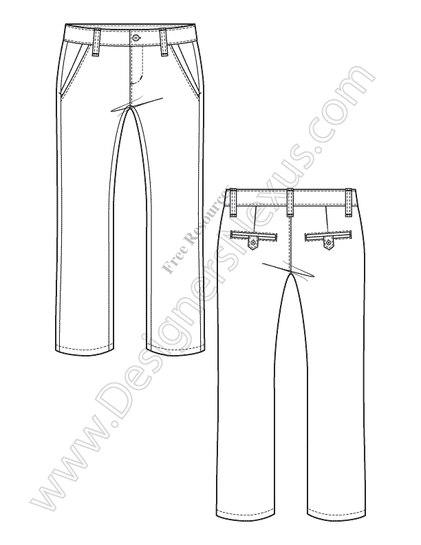 034-straight-leg-kids-pants-Illustrator-flat-sketch