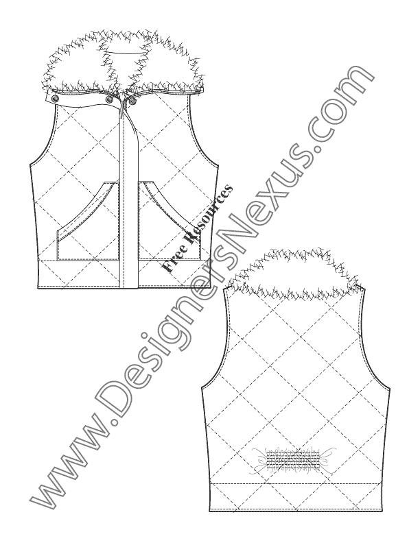 035- diamond quilted fur collar vest flat fashion sketch template