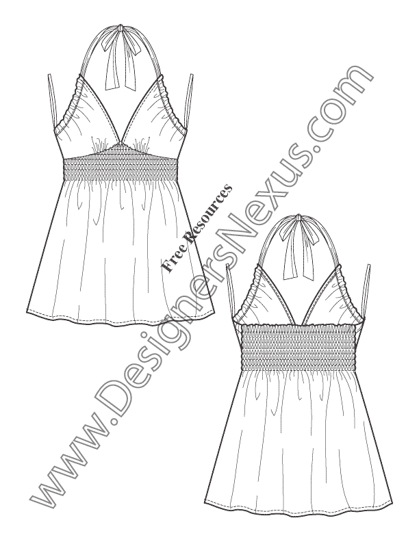 V39 sweetheart baby doll halter top flat fashion sketch for Vest top template