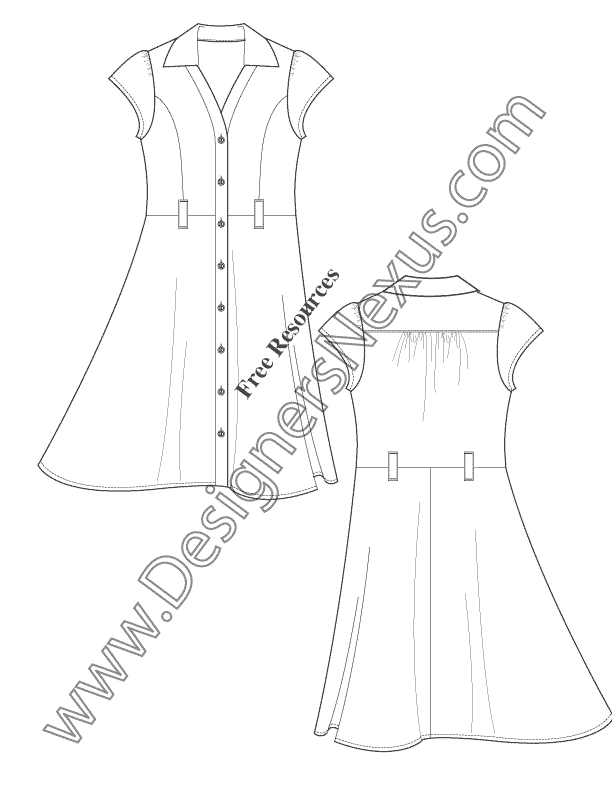 042- button-front shirtdress illustrator flats fashion template
