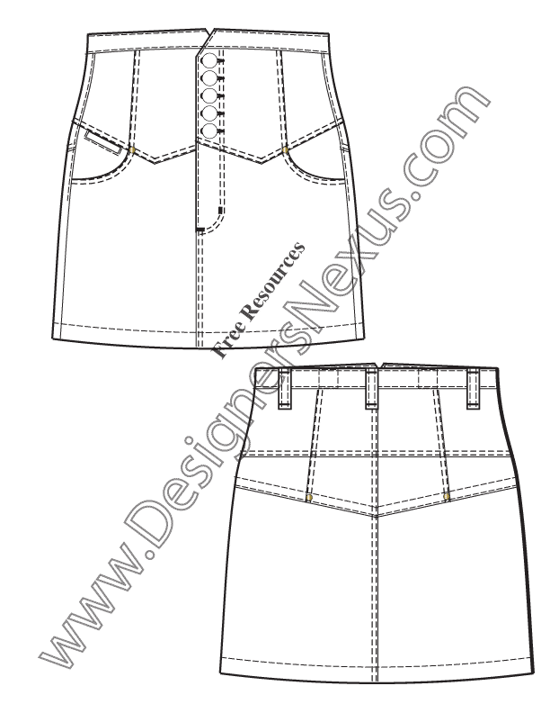 043- high-waist yoke skirt flat fashion sketch