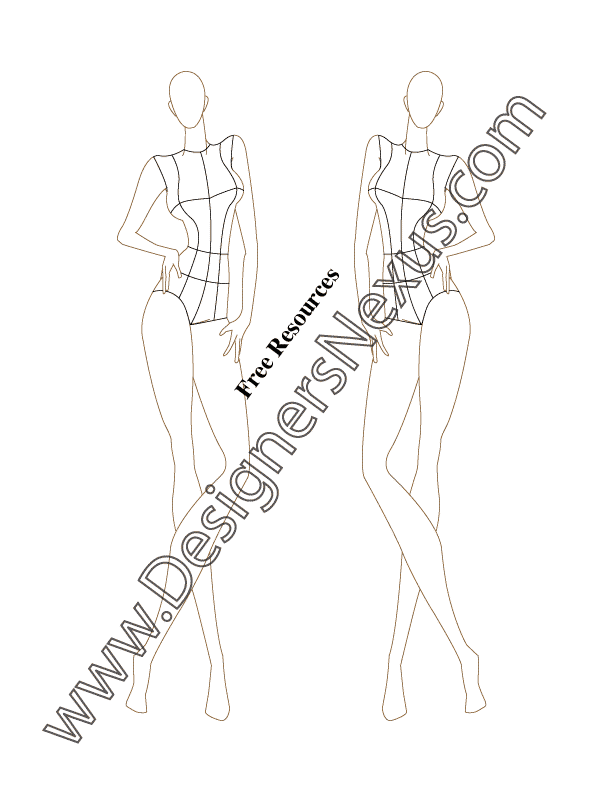 046- front pose female fashion croqui template