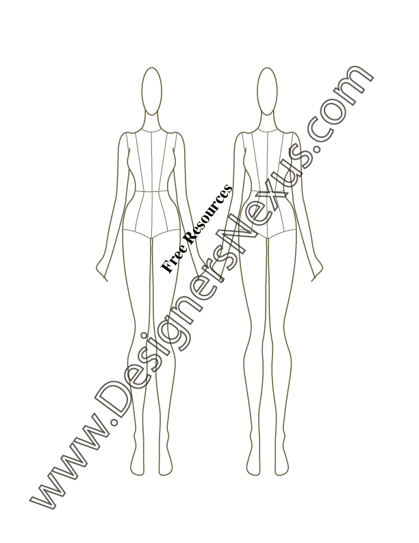 050- front figure pose fashion croqui template