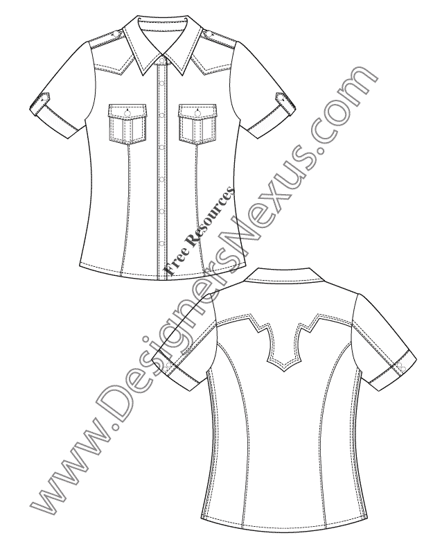 050 short sleeve western shirt flat fashion sketch template