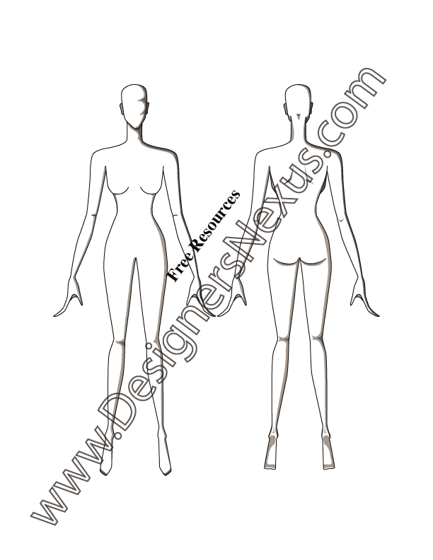 051- front-back poses female fashion croqui template
