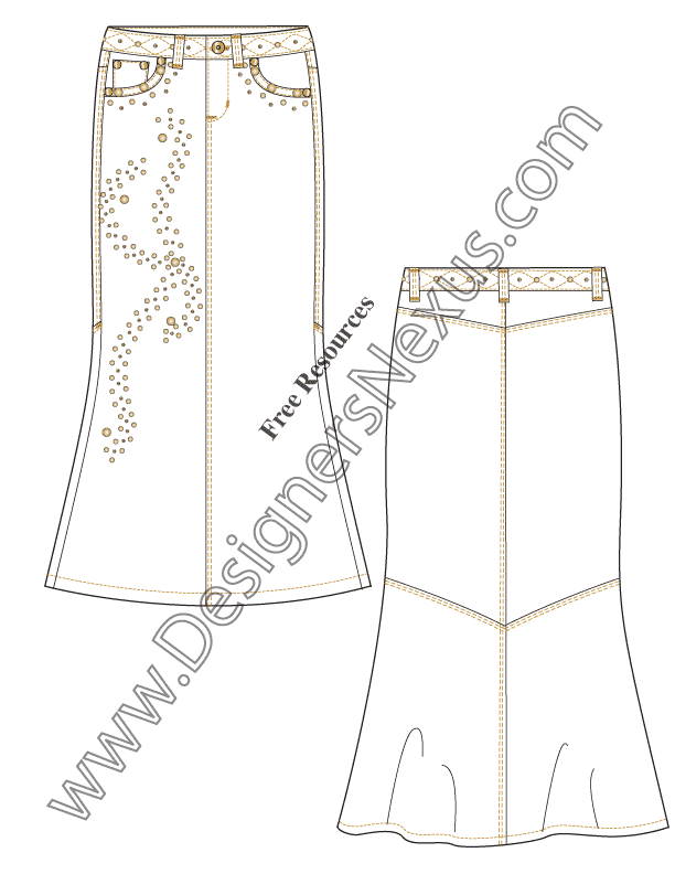 053- stud detail maxi skirt flat fashion sketch template
