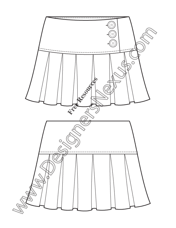 v54 short pleated skirt illustrator flat fashion sketch template designers nexus. Black Bedroom Furniture Sets. Home Design Ideas