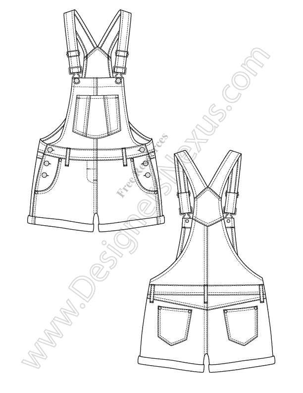 V95 Overalls Fashion Vector Flat Sketch Designers Nexus
