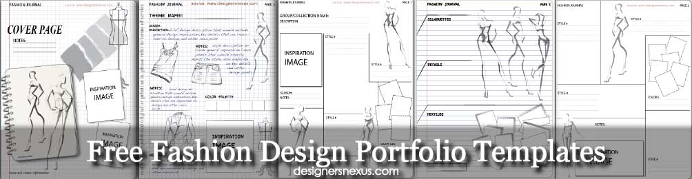 Free Templates Fashion Design Portfolio Layout & Mood Board Templates