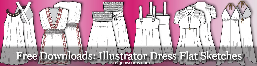 Illustrator Fashion Templates: Free Dress Flat Sketches