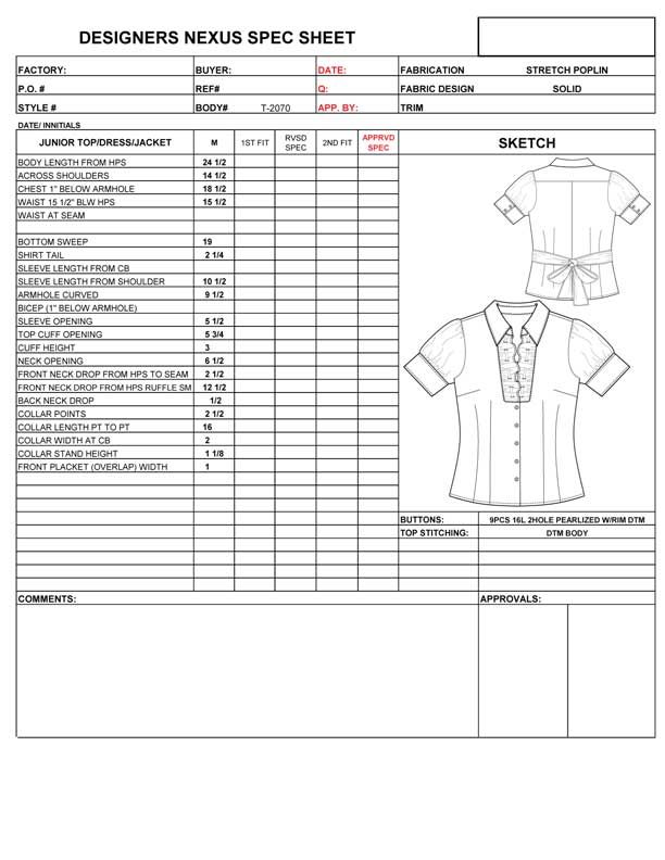 Fashion Apparel Specification Sheet