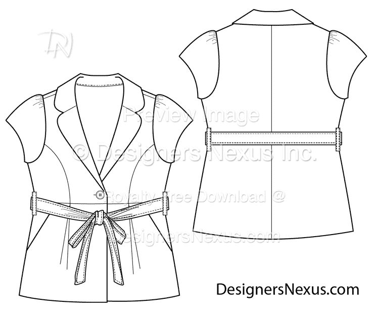flat fashion sketch blazer 019 download preview