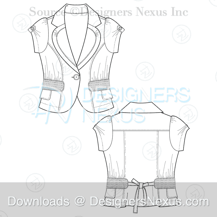 flat fashion sketch blazer 025 preview