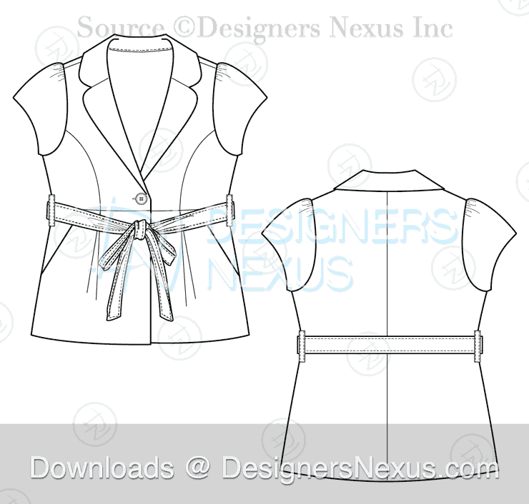 flat fashion sketch blazer 033 preview image