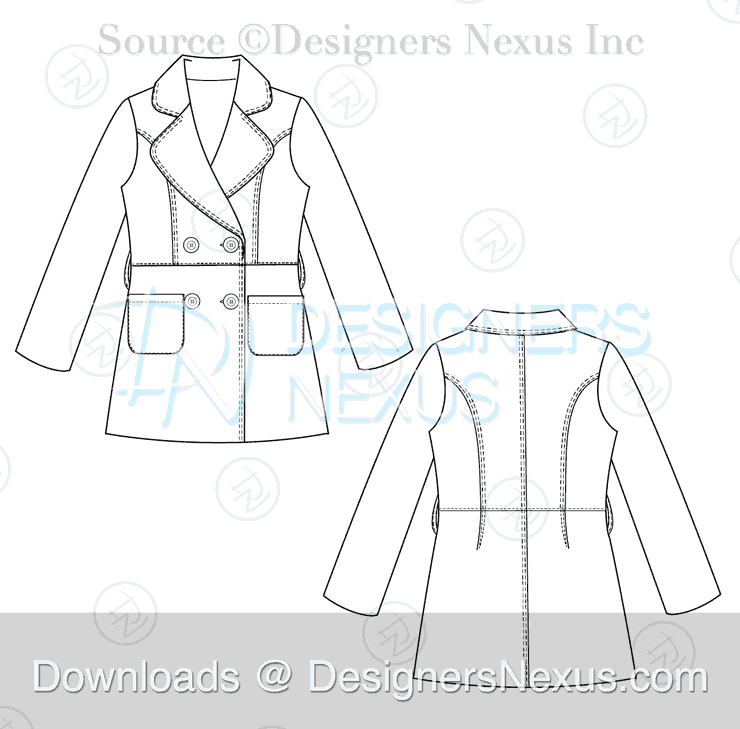 flat fashion sketch coat 027 preview image