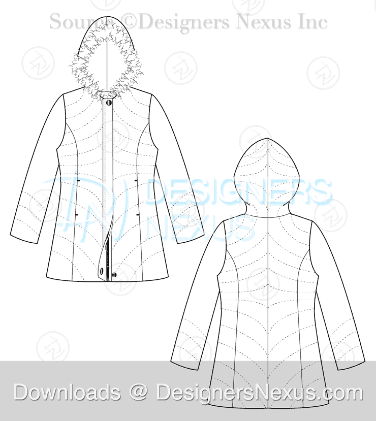 flat fashion sketch coat 032 download preview image
