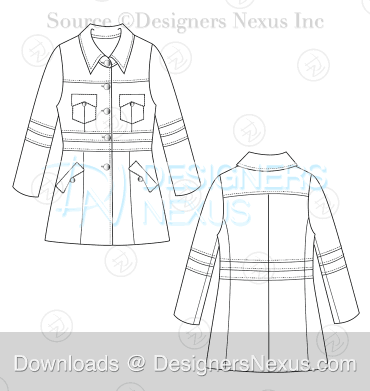 flat fashion sketch coat 036 preview image