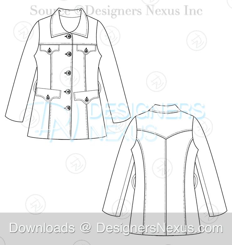 flat fashion sketch coat 039 preview image